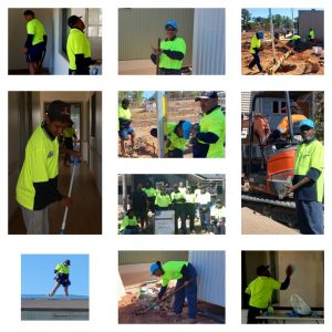 a montage of construction tranees undertaking various tasks; building, sweeping, shovelling and posing with equipment